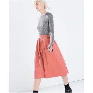 Zara Pink Full Midi Skirt